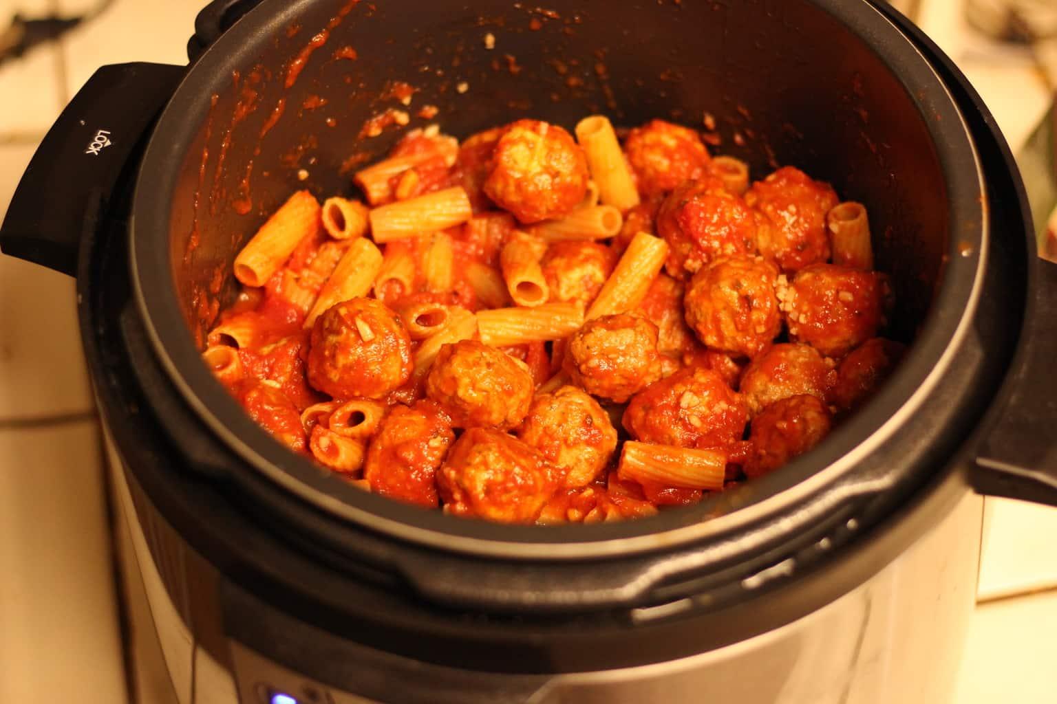 Pressure Cooker Rigatoni With Meatballs