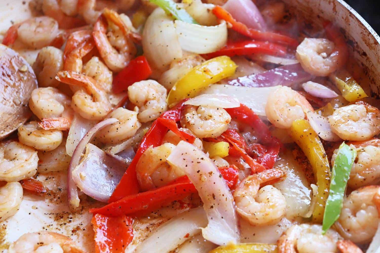 One Skillet Shrimp Fajitas