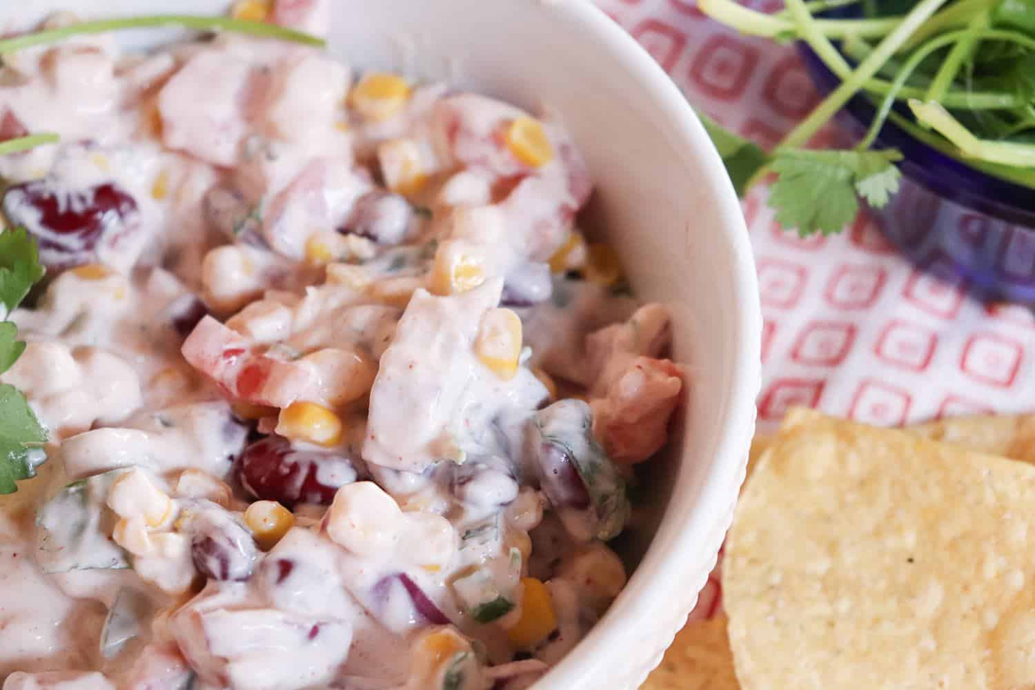 Lighter Creamy Red Bean Salsa | Made With Greek Yogurt