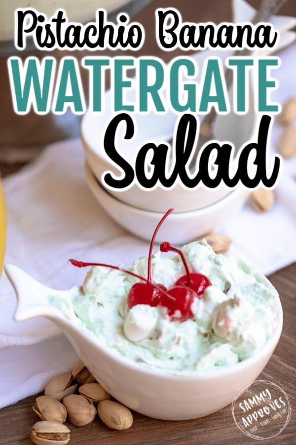Pistachio Watergate Salad is the yummiest green fluff recipe for family BBQ's, potlucks, and parties! #Pistachios #pudding #recipe #easyrecipes #potluck #cherries #trifle #desserts #dessert