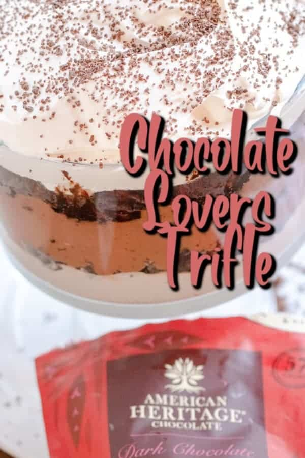 This Chocolate Lovers Trifle is simple to put together for an elevated dessert. Serve at any family party or get together. Holidays, potlucks, birthdays! This is the perfect dessert for anyone who loves chocolate.