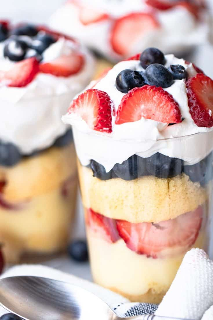 No-Bake Mini Red White and Blue Trifles